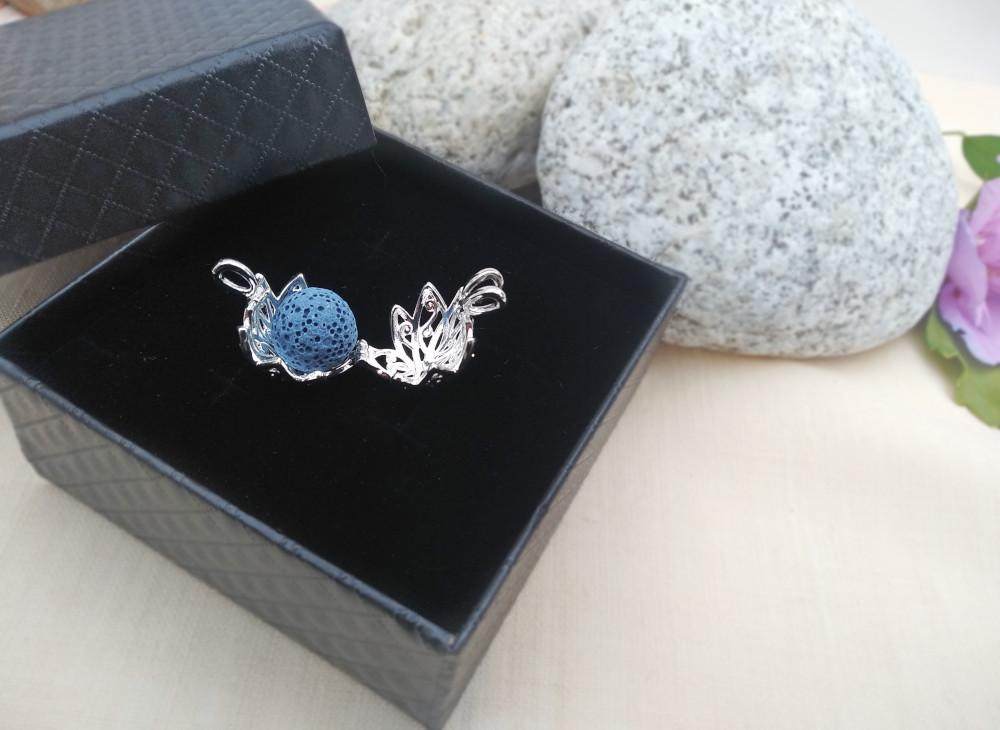 Aroma šperk kvet lotos postriebrený otvorený