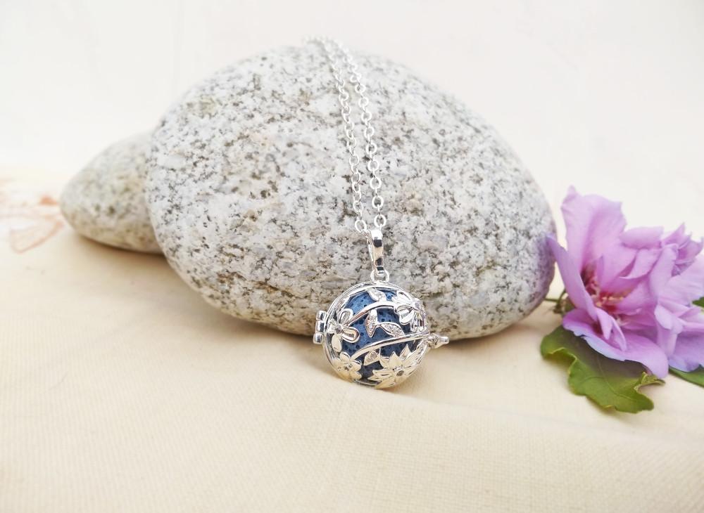 Aroma šperk kvet slnečnice postriebrený dekor