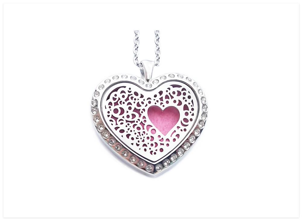 Aroma šperk srdce kryštál nerezový