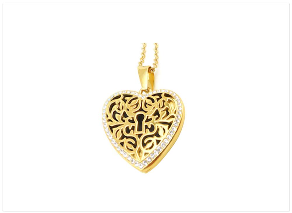 Aroma šperk srdce zámok zlatý nerezový 1