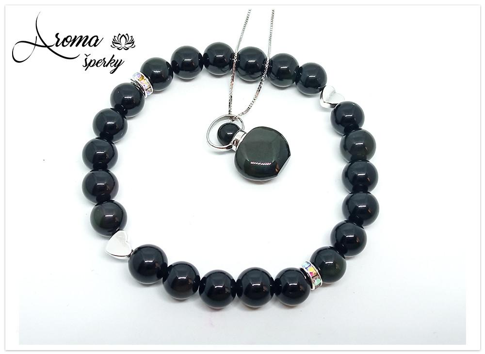 Aromatický exkluzívny prívesok Obsidian čierny s náramkom